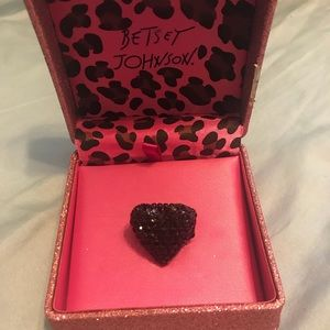 Betsey Johnson Black Heart Ring